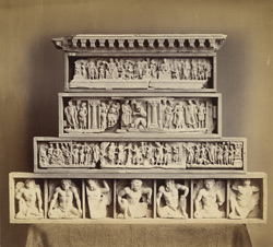 Sculpture fragments of friezes from steps leading to the dome of the stupa, and other pieces, Jamal-Garhi.